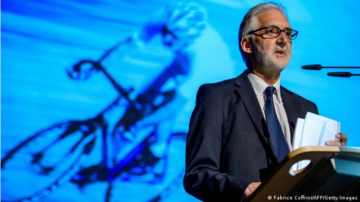Longtime British cycling president Brian Cookson, who is a candidate for the presidency of the International Cycling Union (UCI), makes his presentation on September 15, 2013 before European Cycling Union (UEC) delegates in Regensdorf near Zurich. FABRICE COFFRINI/AFP/Getty Images