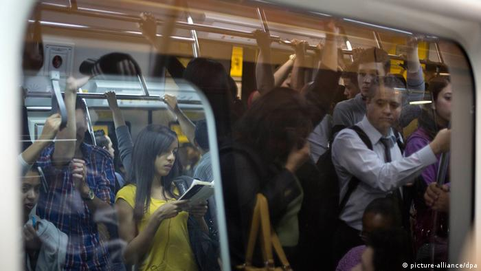 Passengers in a Sao Paulo subway car Photo: AP Photo/Andre Penner