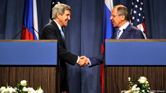 GENEVA, SWITZERLAND - SEPTEMBER 12: US Secretary of State John Kerry (L) and Russian Foreign Minister Sergey Lavrov shake hands as they speak to the press at the Hotel Intercontinental on September 12, 2013 in Geneva, Switzerland. The leaders met to discuss chemical weapons in Syria in working towards assisting a U.N. Security Council resolution. (Photo by Harold Cunningham/Getty Images)