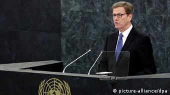 Guido Westerwelle, Foreign Minister of Germany addresses the 68th session of the United Nations General Assembly at United Nations headquarters in New York, USA, 28 September 2013. EPA/JASON SZENES +++(c) dpa - Bildfunk+++
