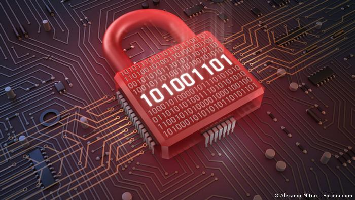 A red padlock made up of digital ones and zeroes
