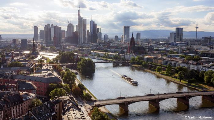 View over the city of Frankfurt am Main during the day. The famous Frankfurt skyline can be seen in the background.