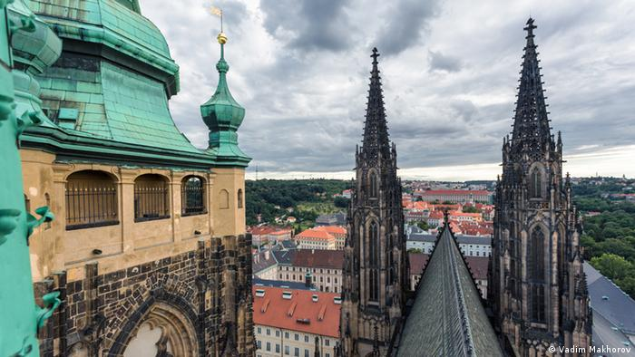 Picture taken from the top of Prague's St. Vitus Cathedral on a cloudy day.