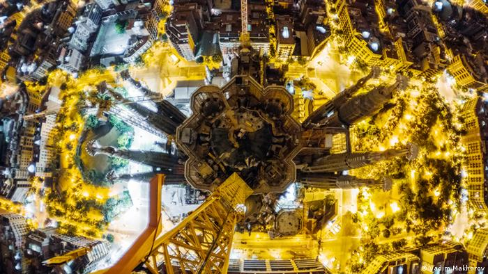 View looking down on Barcelona's La Sagrada Familia at night - taken from a crane which is 50 meters above the 170-meter church.