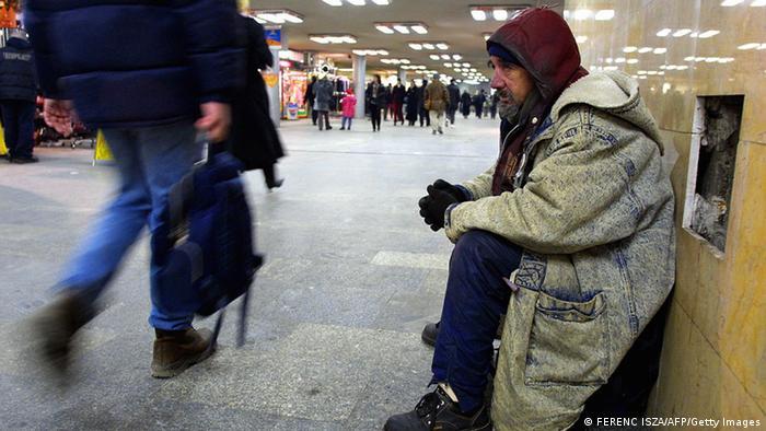 Obdachlosen in Ungarn