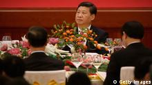 BEIJING, CHINA - SEPTEMBER 30: Chinese President Xi Jinping (Top) attends a reception marking the 64th anniversary of the founding of the People's Republic of China at the Great Hall of the People on September 30, 2013 in Beijing, China. On October 1, 1949, Chinese leader Mao Zedong stood at the Tiananmen Rostrum to declare the founding of the People's Republic of China. (Photo by Feng Li/Getty Images)
