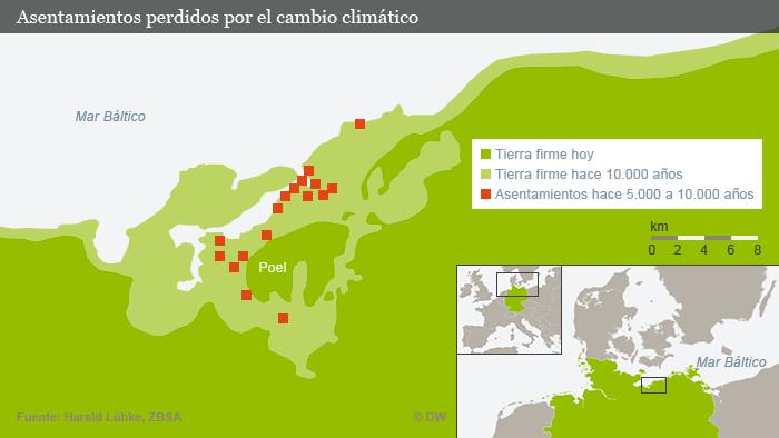 Mapa de asentamientos desaparecidos por al cambio climático.