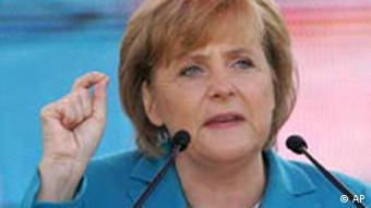 Kanzlerkandidatin Angela Merkel bei einer Wahlkampfveranstaltung