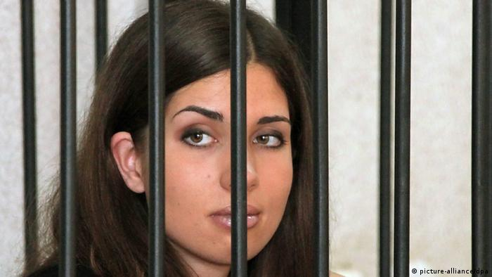 Russian feminist punk-rock band Pussy Riot member Nadezhda Tolokonnikova looks on during a court session at the regional court of Mordovia in Saransk, Russia, July 26 (Photo: EPA/NIKOLAI GAGARIN)