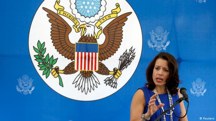 US Charge d'Affaires Kelly Keiderling talks to the media during a news conference at the US embassy in Caracas October 1 (Photo: REUTERS/Carlos Garcia Rawlins)