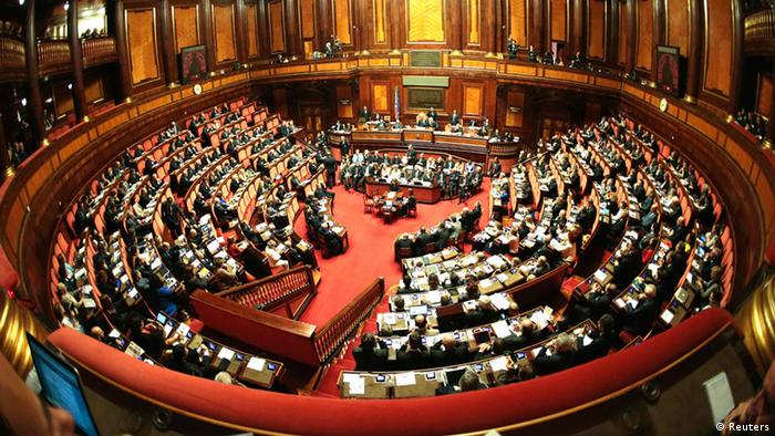 General view of the Senate during Italy's Prime Minister Enrico Ukumbi wa baraza la seneti la Italia alikotoa rai yake Enrico Letta