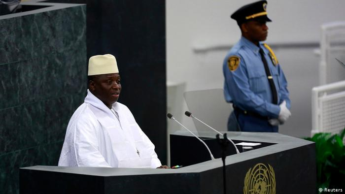 President of Gambia Yahya Jammeh speaks during the United Nations 68th session of the General Assembly at U.N. headquarters in New York September 27, 2013. REUTERS/Shannon Stapleton (UNITED STATES - Tags: POLITICS)