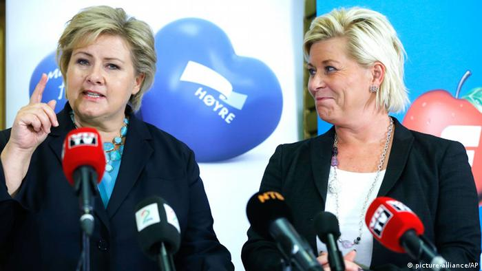 Erna Solberg, leader of the Conservative Party and leader of the Progress Party Siv Jensen face the media as they declare that they have agreed to form a new government, in Oslo, Norway, Monday Sept. 30, 2013. Solberg is widely considered to be the leading Prime Ministerial candidate. (AP Photo / Lise Aserud, NTB Scanpix) NORWAY OUT