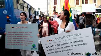 Ακτιβιστές διαδηλώνουν στο Εκουαδόρ