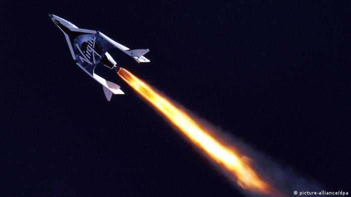 Virgin Galactic space plane blasting upwards
