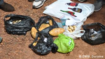 Plastic bags containing drugs that were seized at Bissau Airport