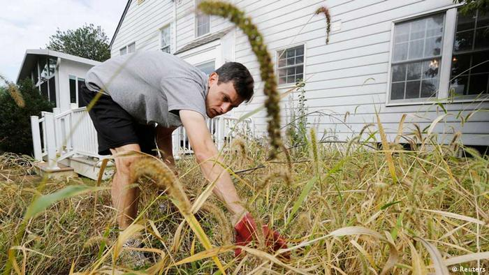 A US government employee works in his overgrown yard