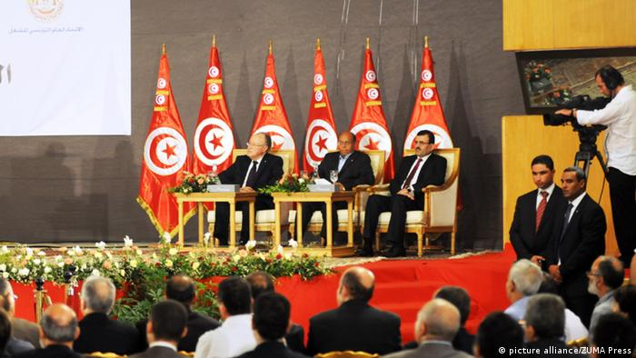 Oct. 5, 2013 - Tunis, Tunisia - The three Presidents, Ali Larayedh (R) Moncef Marzouki (C) and Mustapha Ben Jaafer (L) at the opening of the national dialogue, organized by the General Union of Tunisian Workers (UGTT) Saturday, October 5, 2013 at the Palais des Congres Tunis