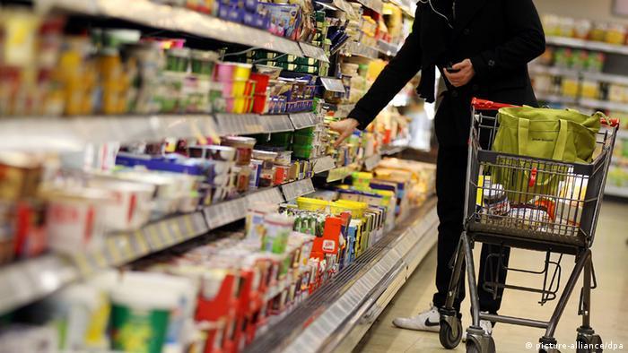 Shopper in a German supermarket