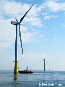 Boot mit Windanlagen vor Helgoland (Foto: Grit Hofmann DW)