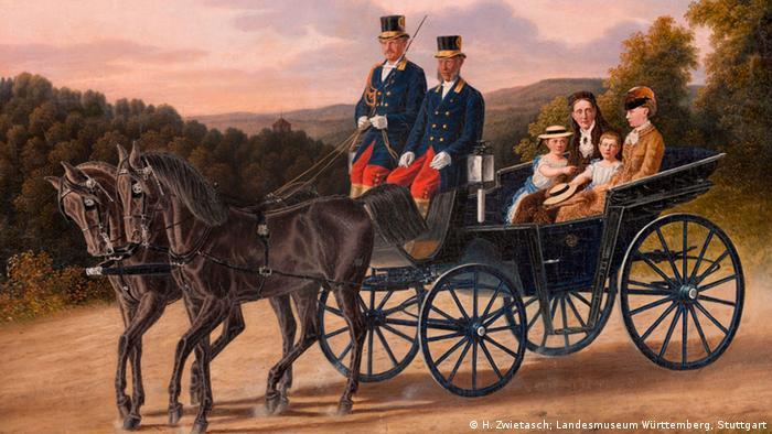 Вюртембергская королева Ольга с Верой и ее дочерями Ольгой и Эльзой на прогулке. Картина Юстуса Фляйшхауэра, 1862 г.