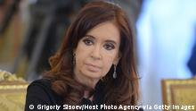 PETERSBURG, RUSSIA - SEPTEMBER 06: In this handout image provided by Host Photo Agency, President of Argentina Cristina Fernandez de Kirchner attends the second working meeting of the G20 heads of state and government, heads of invited states and international organizations at the G20 Summit on September 6, 2013 in St. Petersburg, Russia. Leaders of the G20 nations made progress on tightening up on multinational company tax avoidance, but remain divided over the Syrian conflict as they enter the final day of the Russian summit. (Photo by Grigoriy Sisoev/Host Photo Agency via Getty Images)