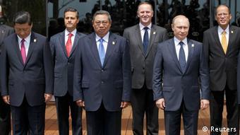 Von l.n.r.: Chinas Präsident Xi Jinping, Mexikos Präsident Felipe Calderon, Indonesiens Präsident Susilo Bambang Yudhoyono, Neuseelands Prmierminister John Key, Russlands Präsident Vladimir Putin und Präsident Benigno Aquino der Philippinen (Foto: REUTERS/Beawiharta)