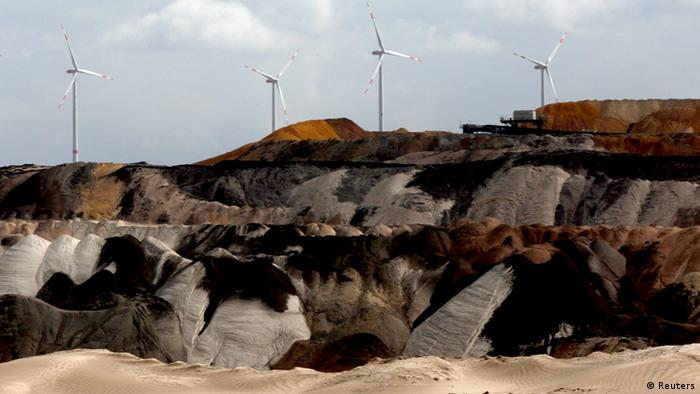 Strip mining at Garzweiler in Germany, with wind turbines behind (REUTERS/Ina Fassbender)