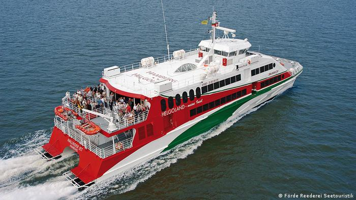 A ferry brings day trippers from Hamburg to Heligoland.