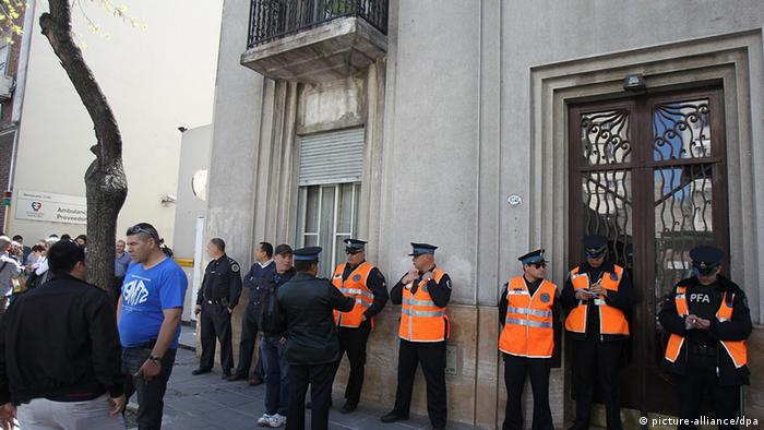 Police stand guard at the Favaloro Clinic in Buenos Aires, where Argentina President Cristina Kirchner is recovering after brain surgery. Photo: dpa