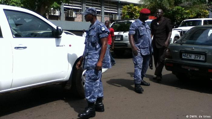 Poliice on patrol in Sierra Leone's capital Freetown