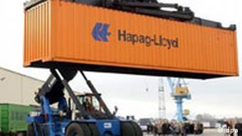 Ein Container des Hamburger Transport- und Logistikkonzerns Hapag-Lloyd TUI will zum Containerriesen aufsteigen