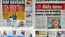 "Turkish newspapers published in Istanbul, Turkey, Monday, Sept. 19, 2005, are seen with the headlines on the German elections. Turkey's Prime Minister Recep Tayyip Erdogan urged conservative challenger Angela Merkel to rethink about her opposition to Turkey's membership in the European Union, saying her failure to win a clear mandate in German elections proved that such policies were not welcomed.The headlines that read: Sabah: ""Who is the Prime Minister fight"", Hurriyet: ""Shock for Merkel"", Radikal: ""Merkel hit the election box"" , Milliyet: ""Anti-Turkey campaign did not help Merkel"" (AP Photo)"