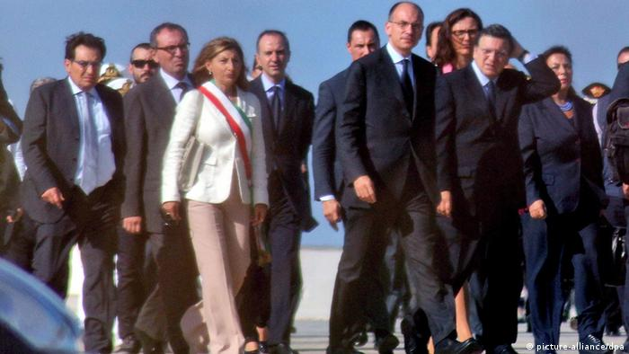 Italy's head of government, Enrico Letta, and the president of the European Comission Jose Manuel Barosso visit Lampedusa