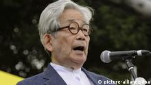 Nobel Prize-winning writer Kenzaburo Oe delivers a speech at an antinuclear power plant protest gathering at Meiji Park in Tokyo on 19 September 2011. Photo: Kyodo /Maxppp