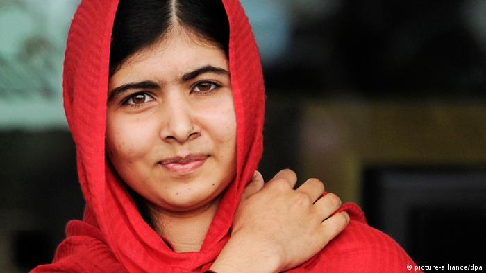 Malala Yousafzai in a red headscarf