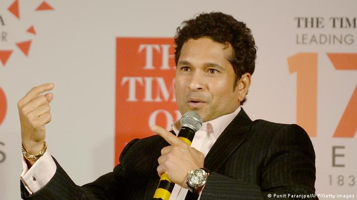 Indian cricketer Sachin Tendulkar speaks during a function to release a new book 'Sporting Times' in Mumbai on May 28, 2013. The book documents India's sporting story of 175 years. AFP PHOTO/ PUNIT PARANJPE (Photo credit should read PUNIT PARANJPE/AFP/Getty Images)