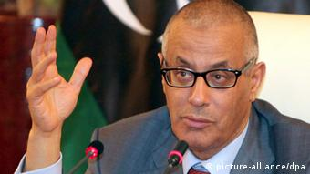 Libyan Prime Minister Ali Zidan speaking during a media conference in Tripoli, Libya. (Photo: EPA/SABRI ELMHEDWI)