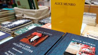 Books by Canadian writer Alice Munro, the 2013 Nobel Prize in Literature winner, are displayed at a bookshop in Vienna October 10, 2013. Munro won the Nobel Prize in Literature on Thursday for her tales of the struggles, loves and tragedies of women in small-town Canada that made her what the award-giving committee called the master of the contemporary short story. REUTERS/Heinz-Peter Bader (AUSTRIA - Tags: ENTERTAINMENT SOCIETY MEDIA)