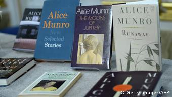 Canada's Alice Munro books, the Nobel laureate in literature 2013, are displayed at Swedish Academy on October 10, 2013 at the Royal Swedish Academy in Stockholm, Sweden. AFP PHOTO / JONATHAN NACKSTRAND (Photo credit should read JONATHAN NACKSTRAND/AFP/Getty Images)
