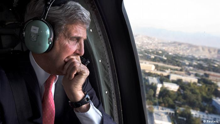 U.S. Secretary of State John Kerry in a helicopter. Photo Reuters.