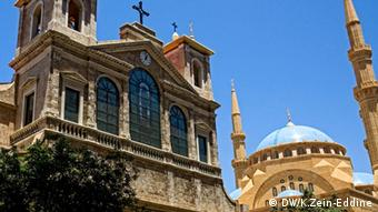 A church and a mosque in Beirut