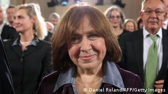 Alexievich writes about people behind the scenes, behind the Iron Curtain Copyright: DANIEL ROLAND/AFP/Getty Images
