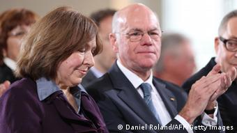 Belarusian journalist and writer Svetlana Alexievich (L) sits next to Norbert Lammert, president of the German Bundestag (lower house of parliament) during her awarding ceremony of the German Book Trade Peace Prize on October 13, 2013 at the Paul's Church in Frankfurt am Main, western Germany. The German Book Trade Peace Prize (Friedenspreis des Deutschen Buchhandels) is awarded since the year 1950 and is worth 25,000 euros. AFP PHOTO / DANIEL ROLAND (Photo credit should read DANIEL ROLAND/AFP/Getty Images)