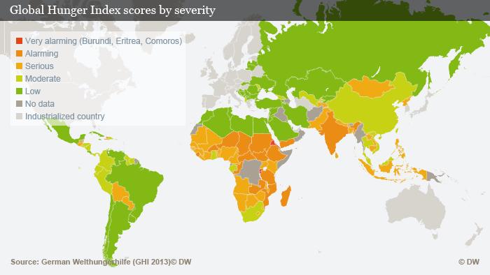 Infografik Welthunger-Index Übersichtskarte ENG