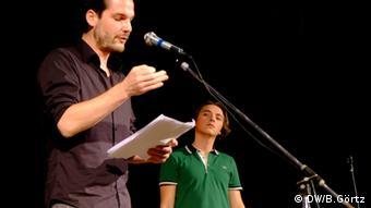 Макс Чоллек (ліворуч) та Андрій Любка (на читаннях в рамках MERIDIAN CZERNOWITZ)
