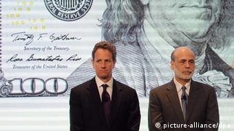 US Secretary of the Treasury Timothy Geithner (L) and Chairman of the Board of Governors of the Federal Reserve System Ben Bernanke attend the unveiling of the new $100 note inside the Treasury Cash Room at the Treasury Department in Washington, DC, USA, 21 April 2010. The US government redesigns currency to fight counterfeiters. The $100 note is the highest value denomination of U.S. currency. EPA/ASTRID RIECKEN pixel