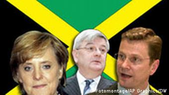 Angela Merkel, Guido Westerwelle and Joschka Fischer before their parties' representative colors