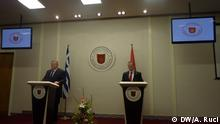 Greece Vice Prime Minister and Minister of Foreign Affairs, Evangelos Venizelos and Goreign Minister of Albani a, Ditmir Bushati in their joint pres conference in Tirana on October 14, 2013. Foto: Ani Ruci, shot in October, 14th, 2013.