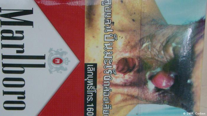 Current graphic health warning packaging on International cigarette brand in Thailand. (DW Photo credit: DW/R. Corben)
